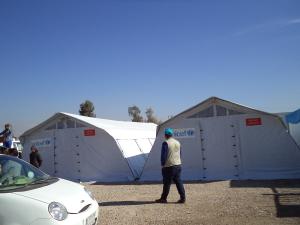 2 tende montate, delle 6 ricevute da Unicef